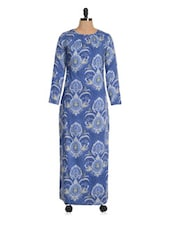 Blue Printed Maxi Dress - Magnetic Designs