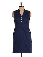 Solid Navy Blue Cut Sleeved Dress - Magnetic Designs