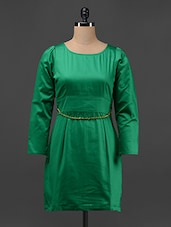 Green Plain Round Neck A-line Dress - Magnetic Designs