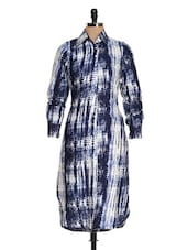 Blue And White Printed Shirt Dress - Magnetic Designs