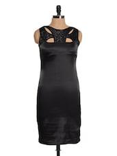 Black Sequined Satin Dress - Magnetic Designs