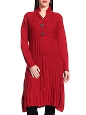 Solid Red Long Woolen Tunic - TAB91