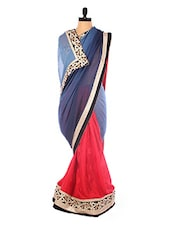 Blue And Red Heavy Bordered Saree - DLINES