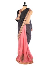Pink And Black Embroidered Saree - DLINES