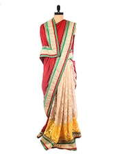 Red And Beige Brasso Saree With Gold Border - DLINES