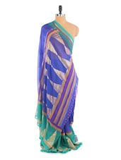Lovely Blue And Green Saree With Blouse Piece - ROOP KASHISH