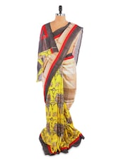 Yellow Floral Printed Saree With Blouse Piece - ROOP KASHISH