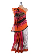 Absolutely Fantastic White And Pink Elegant Saree With Blouse Piece - ROOP KASHISH