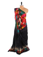 Gorgeous Black Temple Border Saree With Blouse Piece - ROOP KASHISH