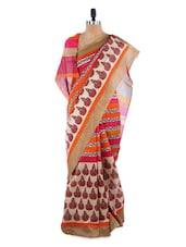 Gorgeous Block Printed Orange And Pink Saree With Blouse Piece - ROOP KASHISH