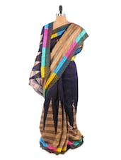 Elegant Temple Border Blue And Beige Saree With Blouse Piece - ROOP KASHISH