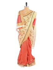 Gorgeous Red And Beige Saree With Blouse Piece - ROOP KASHISH