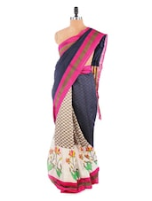 Fantabulous Black And Pink Saree With Blouse Piece - ROOP KASHISH