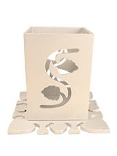 WHITE FLORAL TEA LIGHT HOLDER - Lumber Gifts