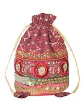 Gorgeous Pink And Gold Embellished Potli Bag - Hastakrta
