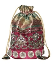 Gorgeous Pink And Gold Embellished Potli Bag - Hastakrta