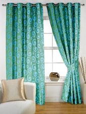 Aqua Spiral Eyelet Curtain Set Of Two - Story @ Home