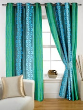Aqua color block printed Eyelet Curtain Set of two -  online shopping for Curtains