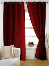 Red Printed Eyelet Curtain Set Of Two - Story @ Home