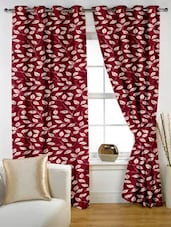 Leaf Printed Maroon Eyelet Curtain Set Of Two - Story @ Home