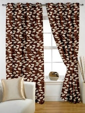 Leaf Printed Coffee Color Eyelet Curtain Set Of Two - Story @ Home