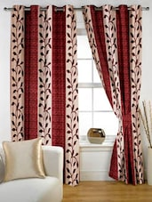 Leaf Printed Color Block Curtain Set Of Two - Story @ Home