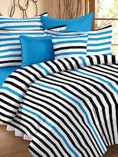 Striped Color Block Double Bedsheet With Pillow Cover - Story @ Home