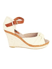 White And Brown Peep Toe Wedges - LOZENGE