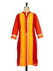 Red And Yellow Printed Kurti - Ayaany