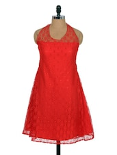 Red Lacy Dress With Halter-neck - Xniva