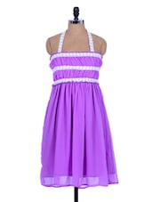 Bright Purple Dress With Pleats - Xniva