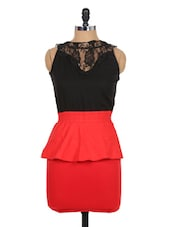 Red And Black Peplum Dress - Xniva