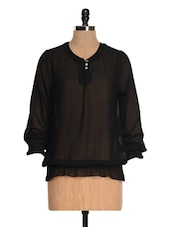 Black Sheer Long Sleeve Smocked Top - Tapyti