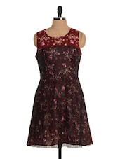 Floral Printed Lace Dress - Tapyti