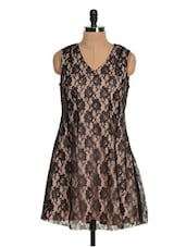 Beige And Black Lace Dress - Tapyti