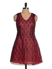 Pink And Maroon Lace Dress - Tapyti