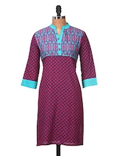 Blue And Pink Printed Cotton Kurti - Jaipurkurti.com