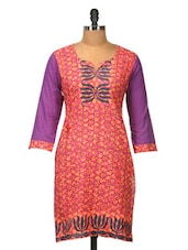 Pink Cotton Kurti With Purple Sleeves - Jaipurkurti.com