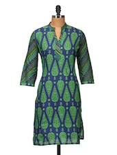 Blue And Green Printed Cotton - Jaipurkurti.com