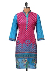 Printed Blue And Pink Cotton Kurti - Jaipurkurti.com