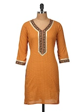 Yellow Polka Dots Printed Cotton Kurti - Jaipurkurti.com