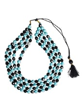 Black Beads With Sky Blue Color Bead Neckpiece - Ranjaana By Deepanjali Chatterjee