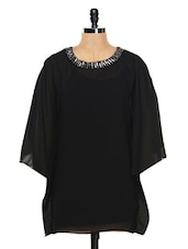 Solid Black Kaftan Style Tunic - Femella