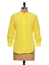 Solid Yellow Shirt With Lacey Sleeves - Femella