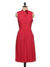 Red A-Line Sleeveless Dress - XnY