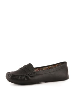 Black Faux Leather Loafers - Tresmode