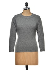 Solid Grey Round Neck Top - Meee!