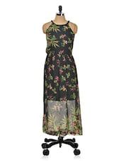 Black Printed Halter Neck Dress - Meee!