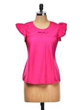 Pink Bow Top With Ruffle Sleeves - Meee!