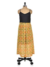 Mustard Printed Dress With Black Lace Yoke - Meee!